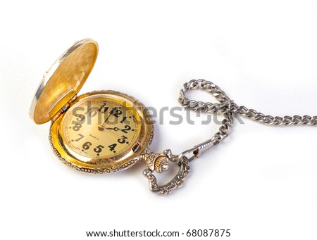 Vintage antique Gold Pocket watch on white background