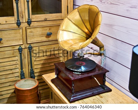 Vintage antique gramophone with a phonograph record #764046340