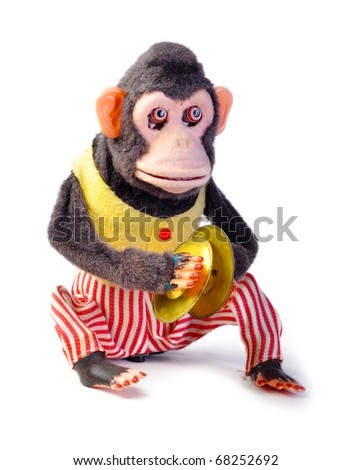 Vintage antique monkey isolated on white background