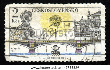 Vintage antique postage stamp from Czechoslovakia