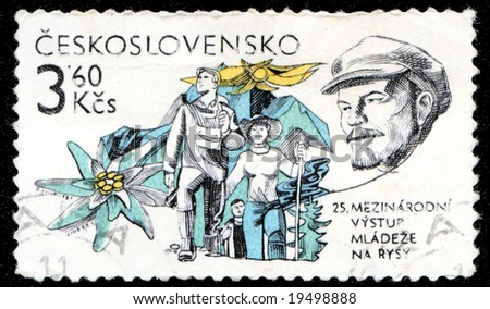 Vintage antique postage stamp from Czechoslovakia with Lenin