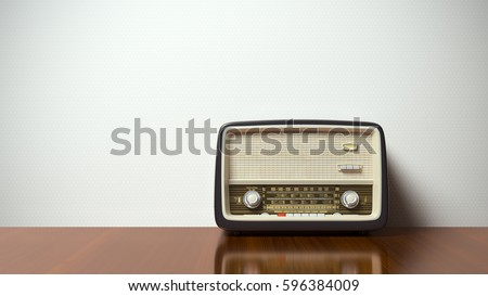 Vintage antique retro old radio in the interior 3D illustration