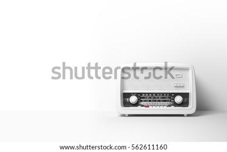Vintage antique retro old radio on background 3D illustration