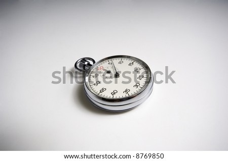 Vintage, antique stopwatch with copy space, crystal is scratched making the numbers appear a little soft