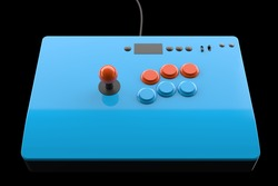 Vintage arcade game machine with colorful controllers isolated on black with clipping path. 3D render of geming gear and gamer workspace concept