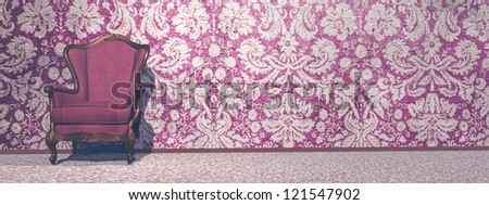 Vintage armchair in retro room with very old wallpaper
