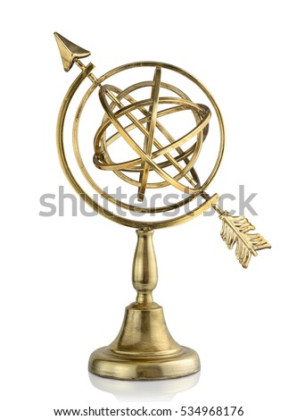 Vintage armillary sphere isolated on white background #534968176