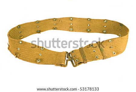 Vintage Army Belt isolated on white