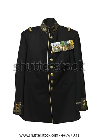 Vintage army jacket with medals isolated on white background
