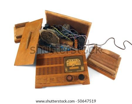 Vintage art deco radio.  Smashed to pieces.