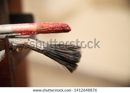Vintage artists brushes. Artist studio. Beautiful still life with professional art materials, close up #1412648876