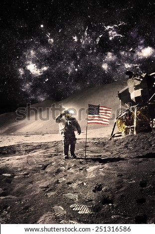 Vintage - Astronaut with Flag On the Moon - Elements of this Image Furnished by NASA