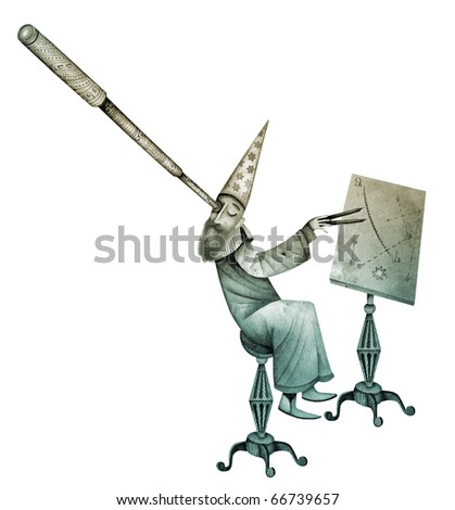 Vintage astronomer isolated on a white background