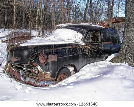 vintage auto abandoned - stock photo