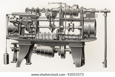 Vintage automatic lathe machine from the beginning of 20th century -  Picture from Meyers Lexicon books collection (written in German language ) published in 1906 , Germany.