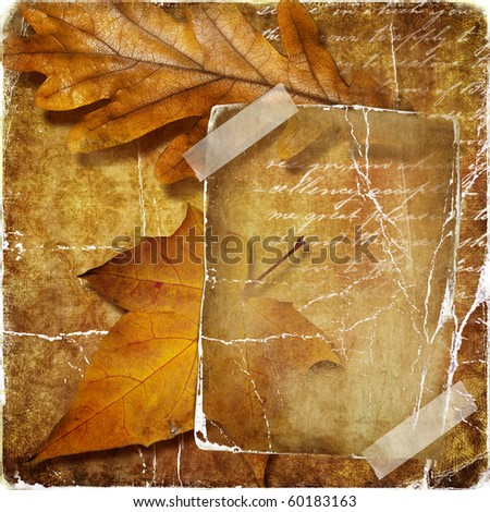 vintage autumn background with paper frame and leaves - stock photo