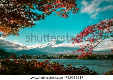 vintage autumn of mount fuji ...