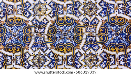 Vintage azulejos (ancient tiles) from the old university - Coimbra, Portugal #586019339