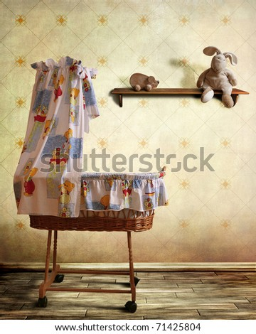 vintage babys room with cradle...