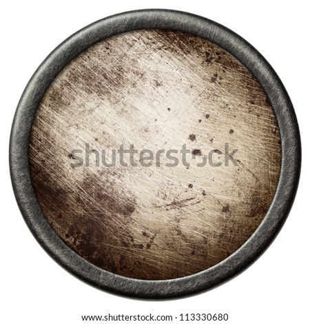 Vintage background. Aged metal texture in a round frame.