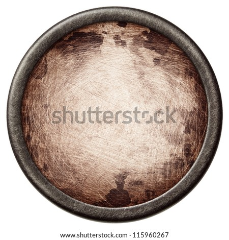 Vintage background. Aged metal texture in a round frame. - stock photo