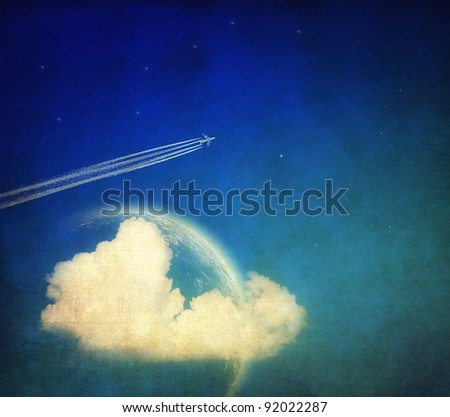 Vintage background, aircraft and sky