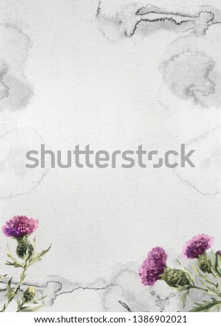 Vintage background card with thistle flowers and splotches. Just add your text.