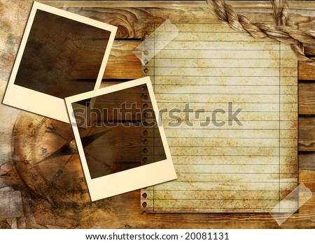 vintage background in adventure stories style - stock photo