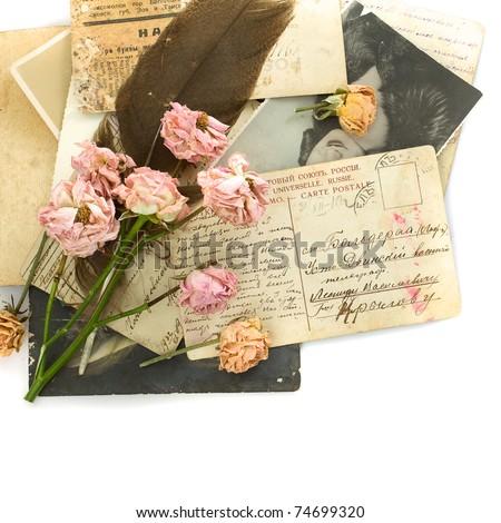 Vintage background - old postcards (1890-1925), photo, flowers