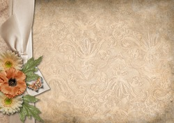Vintage background with a border of ribbon and flowers