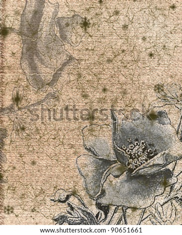 vintage background with beauty flowers