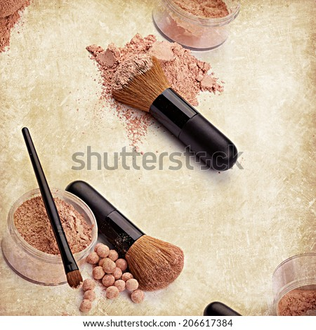 Vintage background with brush and face powder