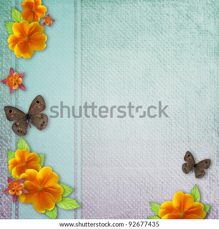 Vintage background with butterfly and yellow flowers #92677435