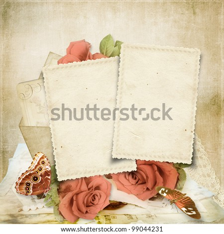 Vintage  background with cards and roses for congratulations and invitations