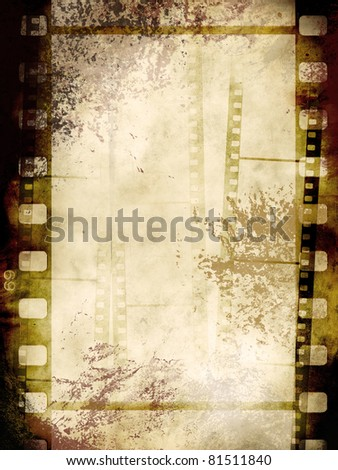 Vintage background with film flame in grunge style