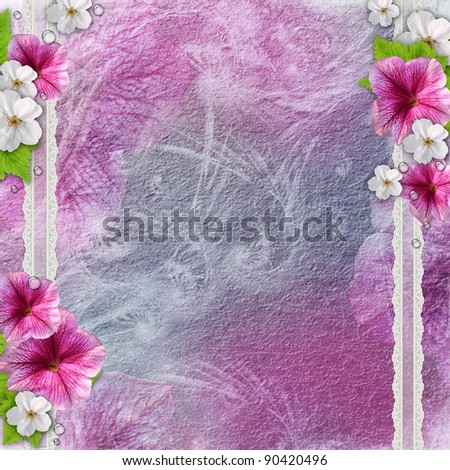 Vintage background with flowers, lace
