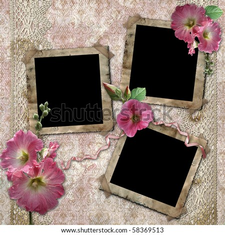 Vintage background with frames for photos and flowers