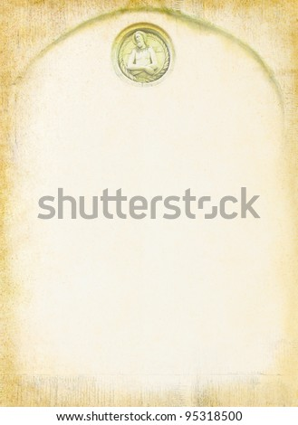 Vintage background with Jesus and frame for text on a religious theme. Design in a Christian style with elements of stone carving and the face of a saint.