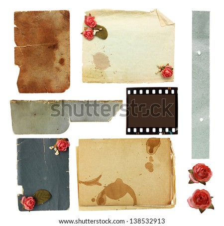 Vintage background with old paper and flowers.