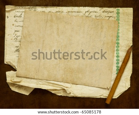 Vintage background with old paper, letters and pencil