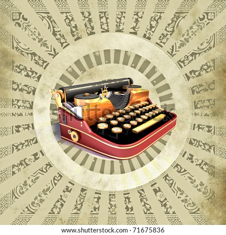 Vintage background with old typewriting machine