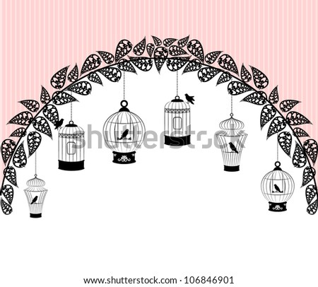 Vintage background with ornamental birdcages and birds. - stock photo