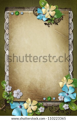 Vintage background with paper,  lace and flower composition