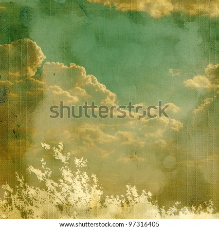 Vintage background with plant and clouds. Page to design photo books