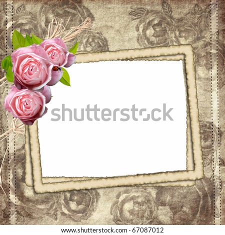 Vintage background with three frames for photo and roses - stock photo