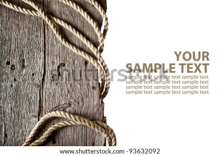 Vintage background with wooden log and hemp rope on isolated white background