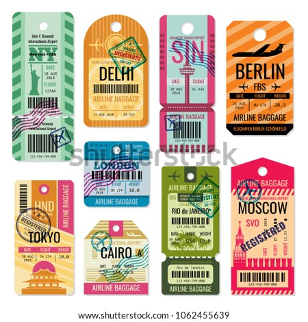 Vintage baggage tags and luggage labels set. Baggage tag and label for transportation illustration