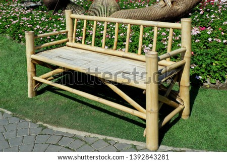 Vintage Bamboo Bench Isolate in the City Park