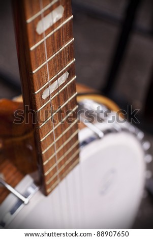 Vintage banjo for sale at a market in London. Selective focus on strings.