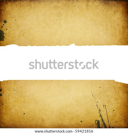Vintage banner with torn edges isolated on white.